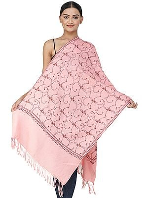 Woolen Stole from Kashmir with Sozni Hand-Embroidered Vines