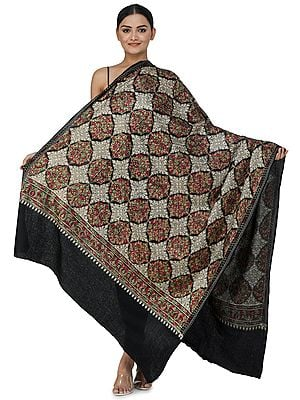 Phantom-Black Ari Embroidered Shawl from Amritsar with Multi-Colored Mandala Patterns