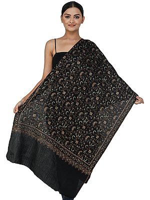 Pure Wool Stole from Kashmir with Sozni Hand-Embroidered Vines