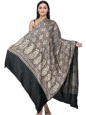 Caviar-Black Ari Embroidered Shawl from Amritsar with Multi-Colored Floral Patterns
