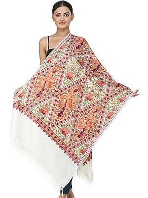 Stole from Kashmir with Ari Embroidered Paisleys and Flowers All-Over