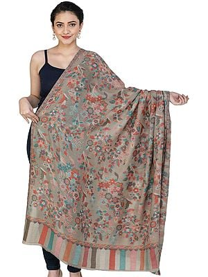 Simply-Taupe Kani Jamawar Shawl from Amritsar with Multicolor Floral Vines
