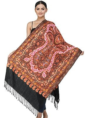 Black-Onyx Stole from Kashmir with Ari Embroidered Floral Vines