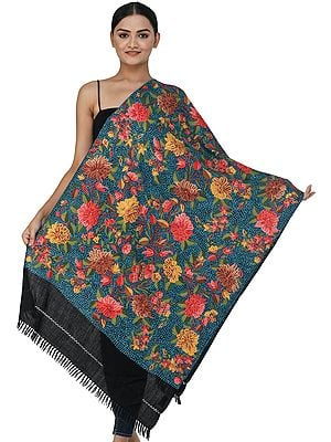 Black Traditional Woolen Stole from Kashmir with Ari Hand-Embroidered Flowers