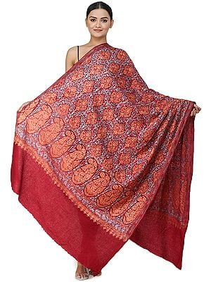 Red-Dahlia Ari Embroidered Shawl from Amritsar with Mulicolored Floral Vines