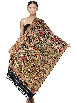 Phantom Black Traditional Woolen Stole from Kashmir with Ari Hand-Embroidered Paisleys and Flowers