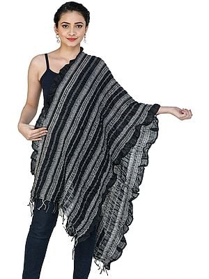 Crinkled Scarf with Woven Stripes