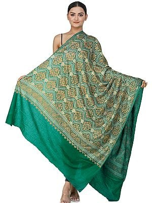 Ultramarine-Green Ari Embroidered Shawl from Amritsar with Gold Floral Vines