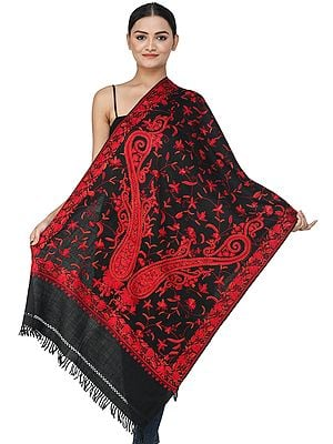 Jet-Black Woolen Stole from Kashmir with Ari Hand-Embroidered Red Paisleys and Chinar Leaves