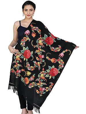 Woolen Stole from Kashmir with Ari Hand-Embroidered Floral Motifs