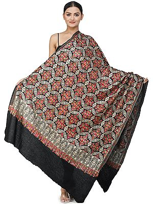 Meteorite-Black Ari Embroidered Shawl from Amritsar with Gold and Multicolor Floral Vines