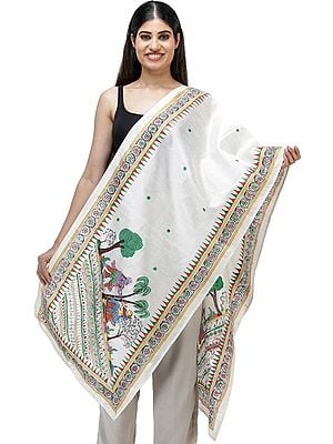 Hand-Painted Pattachitra Silk Scarf from Orissa
