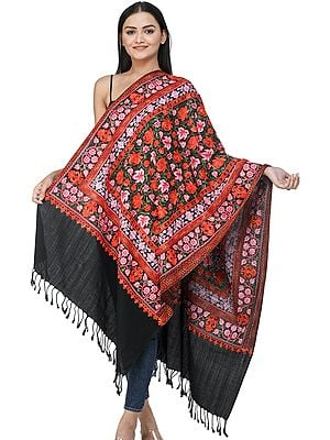 Black-Beauty Woolen Stole from Kashmir with Ari-Embroidered Chinar Leaves and Vines