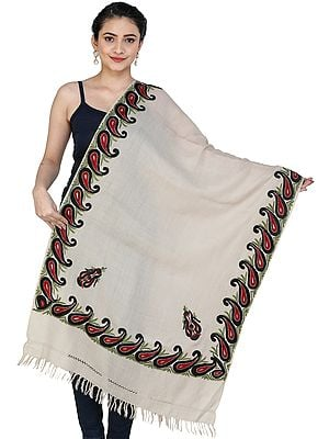 Woolen Shawl from Kashmir with Ari Hand-Embroidered Paisley on Border