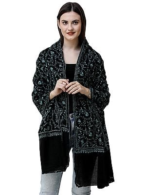 Jet-Black Tusha Stole from Kashmir with Sozni Hand-Embroidered Vines all-over