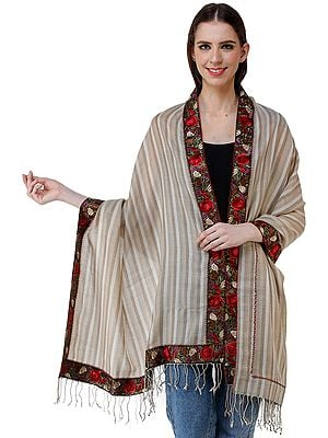 Woolen Stole from Amritsar with Embroidered Patch Border and Woven Stripes
