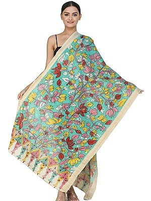 Peacock-Green Kalamkari Dupatta from Telangana with Floral Vines