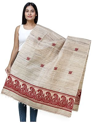 Warm-Sand Women's Tussar Silk Handloom Shawl from Bengal