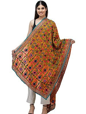 Peach-Caramel Phulkari Dupatta from Punjab with Floral Embroidery All-Over