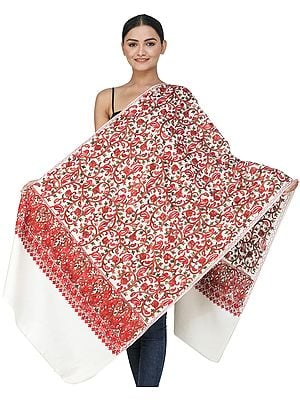Snow-White Woolen Stole from Kashmir with Ari-Embroidered Floral Vines