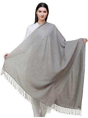Gray-Flannel Plain Cashmere Shawl from Nepal