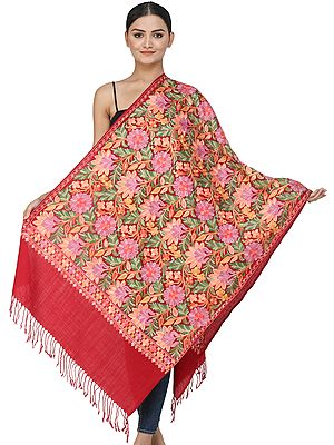 Winery-Red Woolen Stole from Kashmir with Ari-Embroidered Flowers and Vines