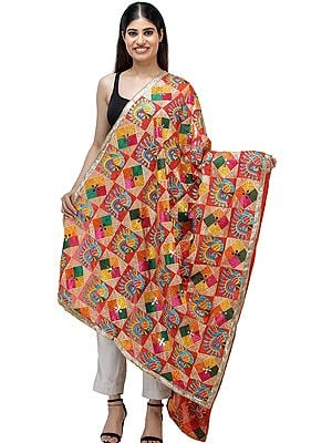 Flame-Scarlet Phulkari Dupatta from Punjab with Peacocks and Multicolor Geometric Patterns