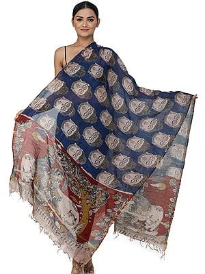 Kalamkari Dupatta from Telangana with Buddha Head