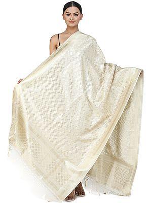 Pristine-White Banarasi Brocade Dupatta with Chevron Weave Pattern