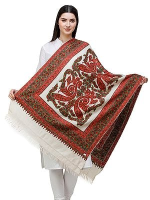 Whisper-White Traditional Woolen Stole from Kashmir with Hand-Embroidered Paisleys and Flowers