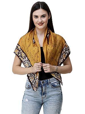 Amber-Gold Batik Silk Scarf with Floral Bootis