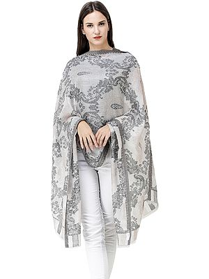 Quiet-Gray Jamawar Shawl from Amritsar with Woven Paisleys and Vines