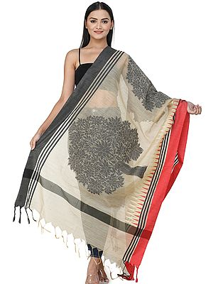 Silk Zari Dupatta with Temple Motifs and Woven Stripes All-over