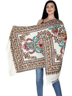Egret-White Traditional Woolen Stole from Kashmir with Hand-Embroidered Flowers and Chinar Leaves