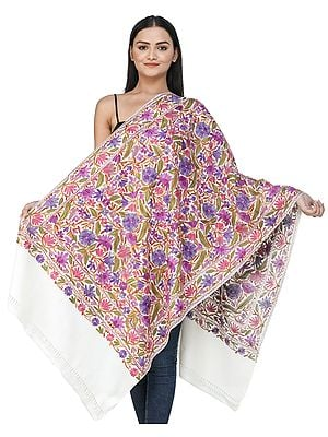 Pristine-White Woolen Stole from Kashmir with Ari-Embroidered Floral Vines