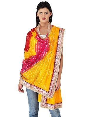 Multi-coloured Tie-Dye Bandhani Dupatta From Gujarat with Zari Patch Border and Beads
