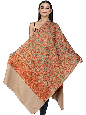 Woodsmoke Woolen Stole from Kashmir with Ari-Embroidered Floral Vines