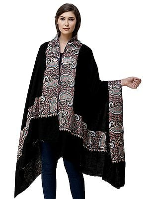 Caviar-Black Pure Pashmina Shawl from Kashmir with Hand-Embroidery in Multicolor Thread on Border