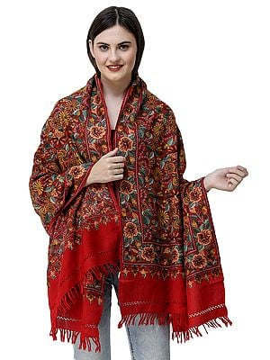 Racing-Red Woolen Stole from Kashmir with Ari-Embroidered Flowers by Hand
