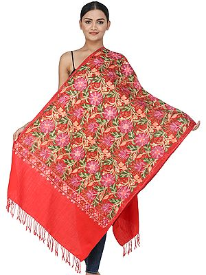 Flame Scarlet Woolen Stole from Kashmir with Ari-Embroidered Flowers and Vines