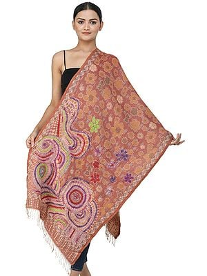 Redwood Burl Jamawar Stole from Amritsar with Woolen Thread Multi-Colored Embroidered Flowers and Paisleys