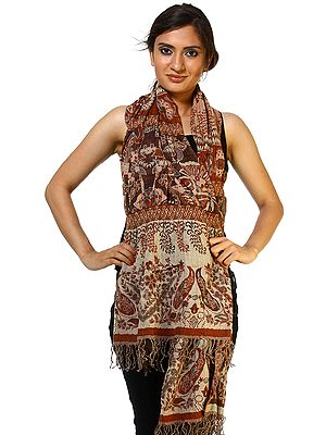 Beige and Brown Jamawar Stole with Woven Paisleys and Flowers