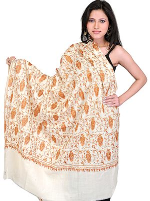 Cloud-Cream Tusha Shawl from Kashmir with Sozni Hand Embroidered Bootis All-Over