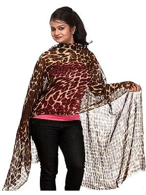 Coffee and Beige Leopard-Skin Printed Stole