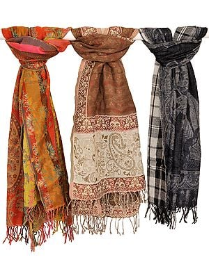 Assorted Lot of Three Jamawar Scarves from Amritsar