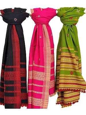 Lot of Three Shawls from Kutchh