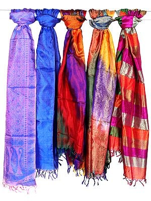 Lot of Five Pure Silk Stoles with Tanchoi Weave