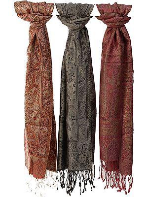 Lot of Three Super-Silk Jamawar Scarves