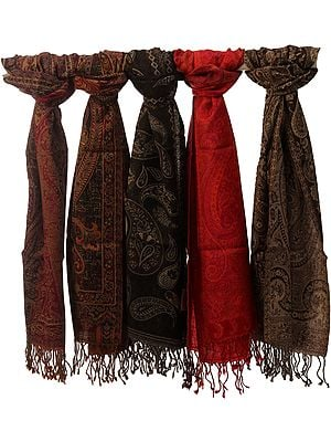 Lot of Five Reversible Jamawar Scarves
