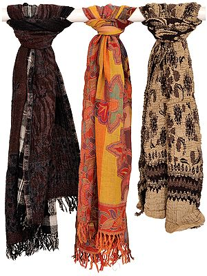 Assorted Lot of Three Jamawar Scarves